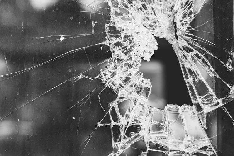 crack of glass window