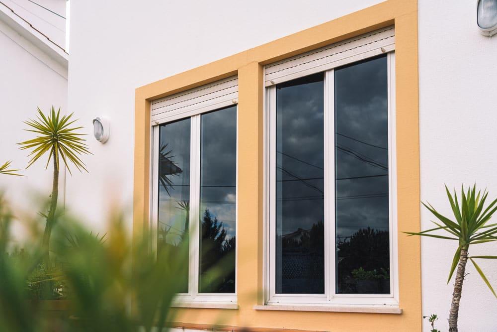 windows with yellow trim